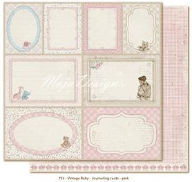 Arkusz 30x30 cm Vintage Baby Journaling cards pink