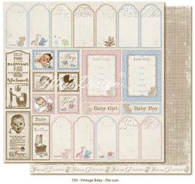 Arkusz 30x30 cm Vintage Baby - Die cuts