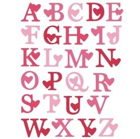 Wykrojnik Alfabet Duże litery Serca (W484)
