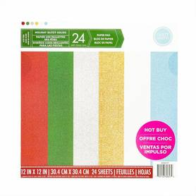 Zestaw 24 papierów 30x30 Craft Smith Holiday Glitzy Solids