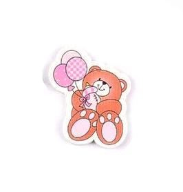 Ozdoba drewniana Miś z balonikiem różowy