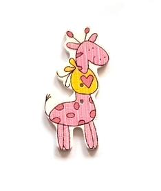 Ozdoba drewniana Żyrafa Baby różowa