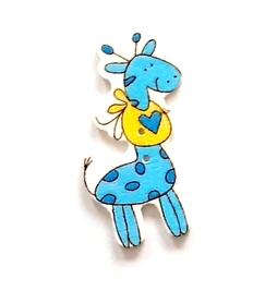 Ozdoba drewniana Żyrafa Baby niebieska