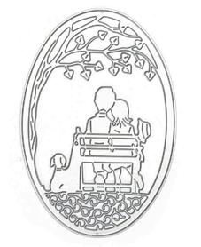 Wykrojnik Ramka owalna Para na ławce (W507)