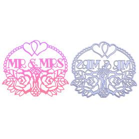 Wykrojnik Napis Mr & Mrs z różami