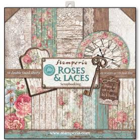 Zestaw papierów 30x30 - Stamperia - Roses&Laces