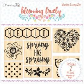 Zestaw stempli drewnianych Blooming Lovely + 2 mini tusze