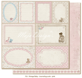 Arkusz 30x30 cm Vintage Baby Journaling cards pink