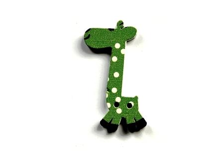 (OD5) Żyrafa Żyrafka drewniana guzik - zielony (1)
